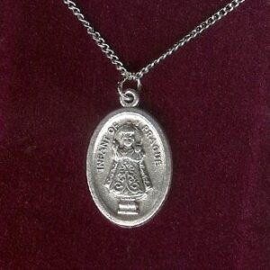 Silver colored Infant of Prague Medal on 18-inch chain